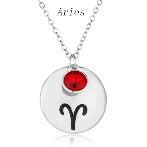 12 Constellation Zodiac Horoscope Charm Pendant Long Chain Necklace Jewelry Gift