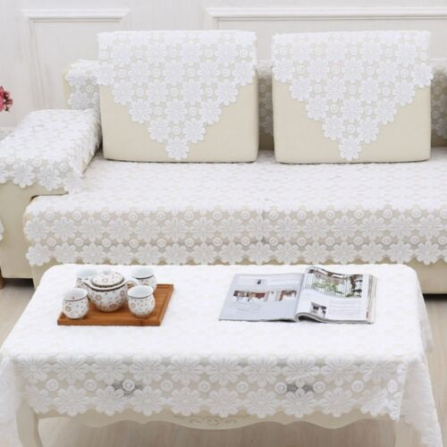 polyester white lace floral sofa couch seat