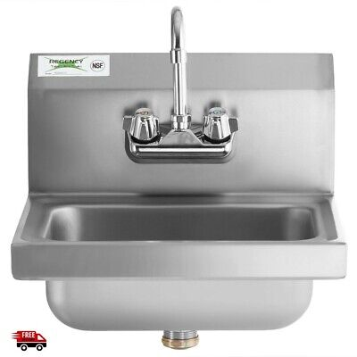 Commercial Sink Faucet Wall Mount Hand Washing Kitchen Stainless Steel Gooseneck