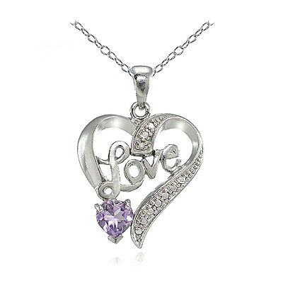 Sterling Silver Amethyst or Blue Topaz and Diamond Accent