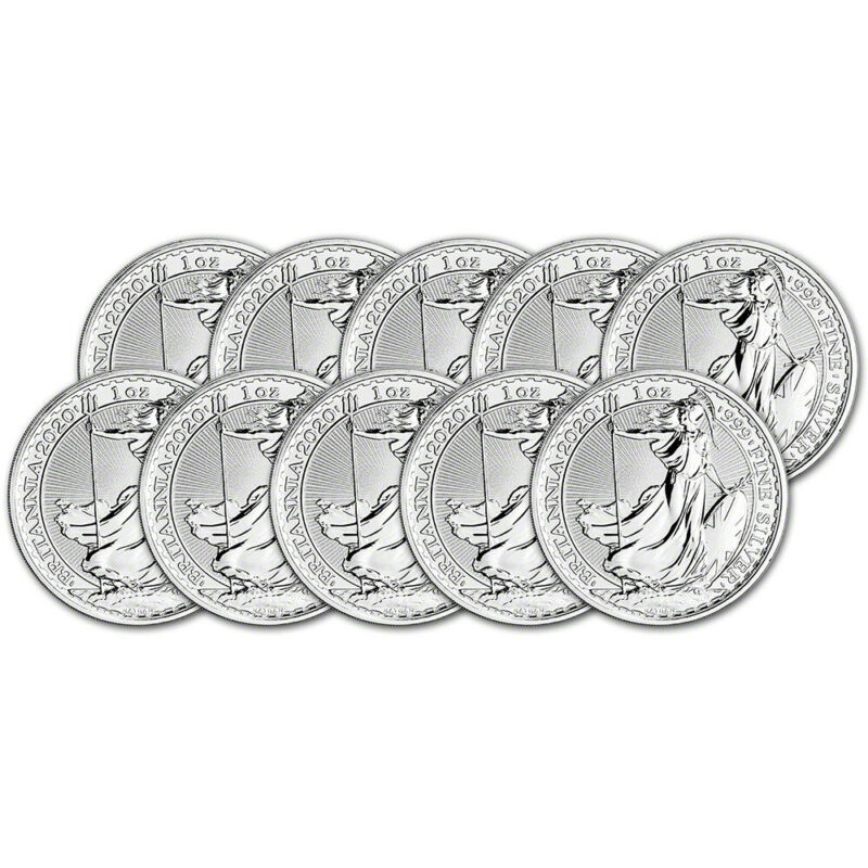 2020 Great Britain Silver Britannia £2 - 1 oz - BU - Ten 10 Coins