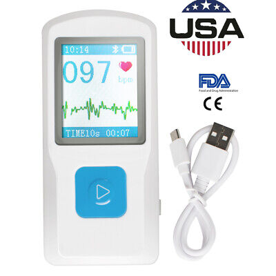 1.77 Lcd Pm10 Portable Ecg Ekg Machine Heart Beat Monitor Usb Bluetooth Fda Ce