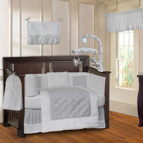 BabyFad 10 Piece Minky White Baby Crib Bedding set