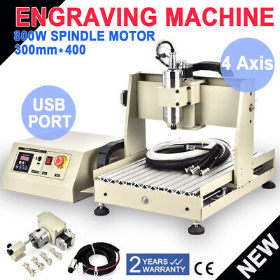 Usb 4 Axis Cnc 3040 Router Engraver Machine 800w Woodwork Mill Drill Cutter 220v