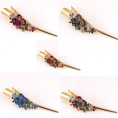 New Beautiful Gold Tone Rhinestone crystal flower Alligator hair clip 1212 (Gold Tone Flower Clip)