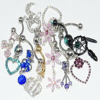 Belly Button Ring Dangle Surgical Steel And Acrylic Lot of 10