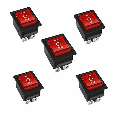 5pcs Red Rocker Switch Onoffon 3 Position 6pins With Lamp Ac 250v16a