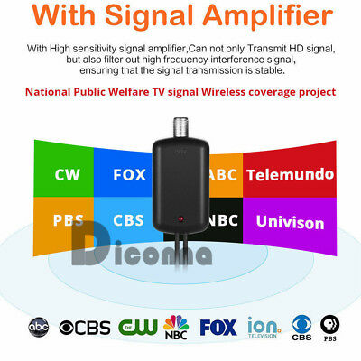 HDTV Antenna Amplifier Signal Booster TV High Gain Channel Boost Indoor 100miles