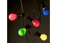 WANTED - Mains 240V Garden String Festoon Fairy Lights Indoor/Outdoor White Coloured BC ES LED