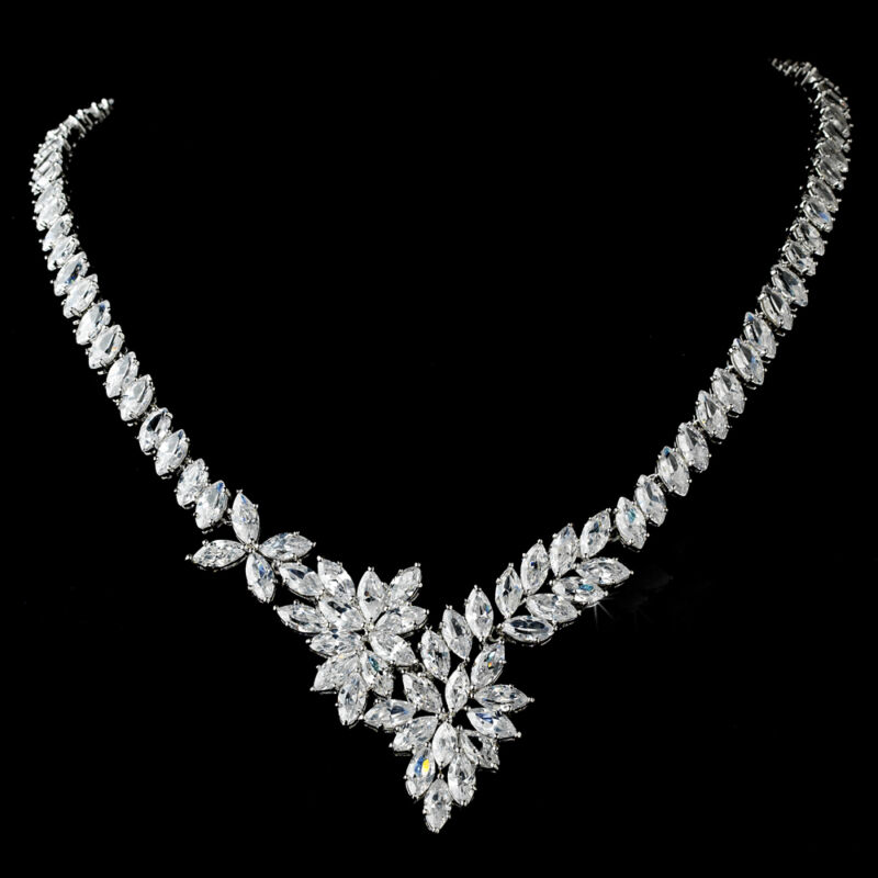 Bridal Wedding Silver Marquise Cubic Zirconia Crystal Necklace Brides Jewelry