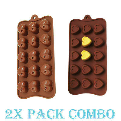- 2 Pack Combo Silicone Mold Heart Valentine Love candy Ice cube Tray Chocolate
