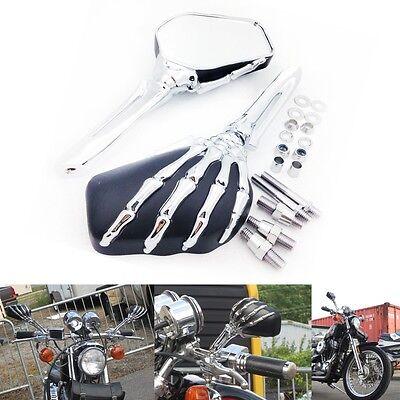 Chrome Black Skull Skeleton Mirrors For Harley Dyna Softail Sportster Touring