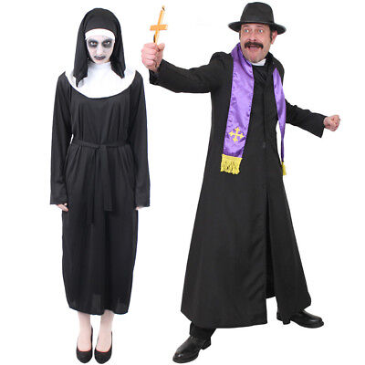 COUPLES DEMON NUN AND EXORCIST PRIEST COSTUMES HALLOWEEN HORROR FANCY DRESS - Halloween Costumes Priest And Nun