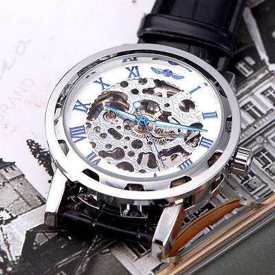 Luxury Mens Skeleton Mechanical Army Wrist Watch Steampunk Black Leather Band