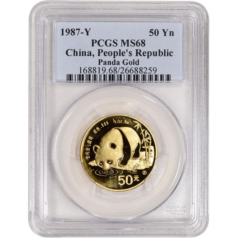 1987 Y China Gold Panda 1/2 oz 50 Yuan - PCGS MS68