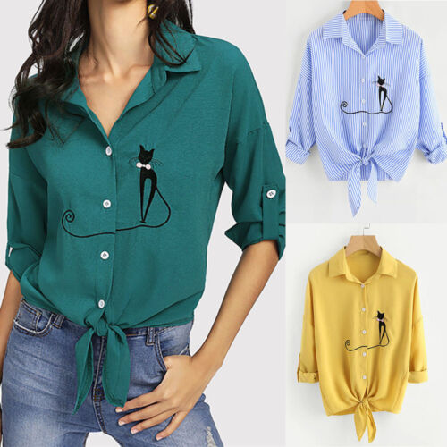Women Embroidered Cat Knotted Hem Shirt Long Sleeve Blouse Button Tops