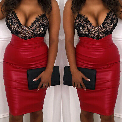 Womens High Waist Faux Leather Pencil Skirt Ladies Evening Party Bodycon Dress