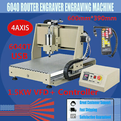 Usb 4 Axis 1.5kw Cnc 6040z Drilling Machine Miller Router Engraver 3dhandwheel