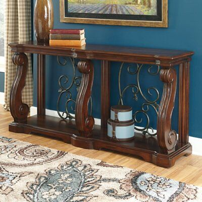 Signature Design By Ashley Alymere Rectangular Sofa Table  Brown