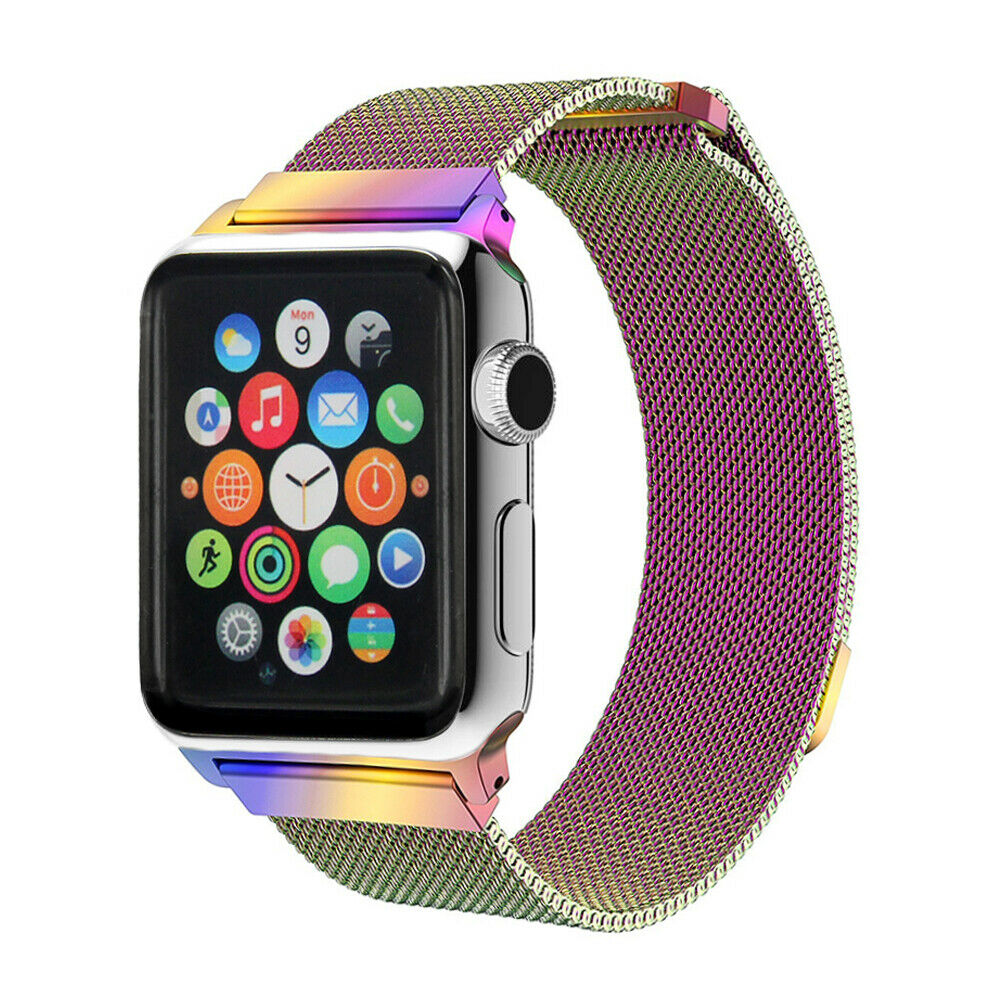 Rainbow Stainless Steel Milanese Luxury Band for Apple Watch 38mm Series 1-4 Jewelry & Watches