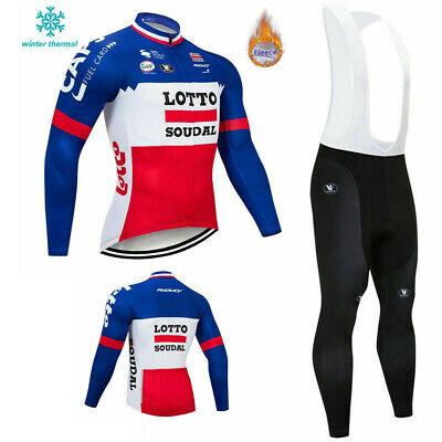 LOTTO Winter Fleece Thermal Men Cycling Jersey Suit Road Bike MTB Bib Gel Pants