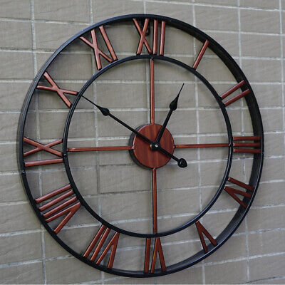 "16"" Garden Large Wall Clock Outdoor Indoor Gear Roman Numeral Silent Open Face"