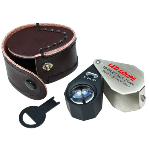30X Magnification 21mm Triplet Jewelers Loupe with LED - UV Dual illumination