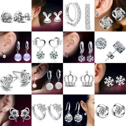 925 Sterling Silver Gifts Fashion Crystal Stud Earrings Stud