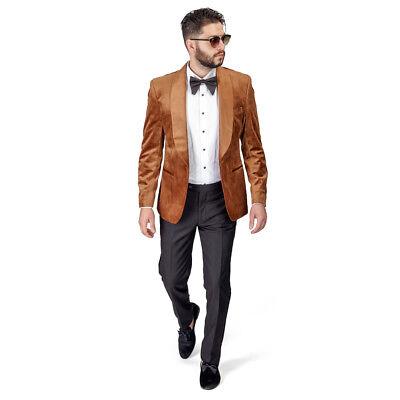Shawl Lapel Velvet Tuxedo Gold 1 Button Suit Black Pants Flat Front Fitted AZAR ()
