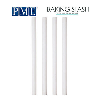 """PME Plastic 12.5"""" Pillar Wedding Cake Tier Tiered Rod Support Dowels - 4 Pack"""