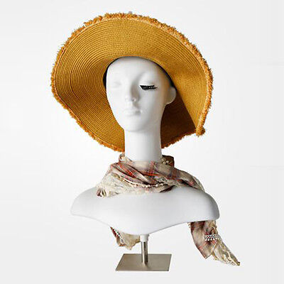 Plastic White Mannequin Head Upper Body Metal Base Hat Jewelry Display