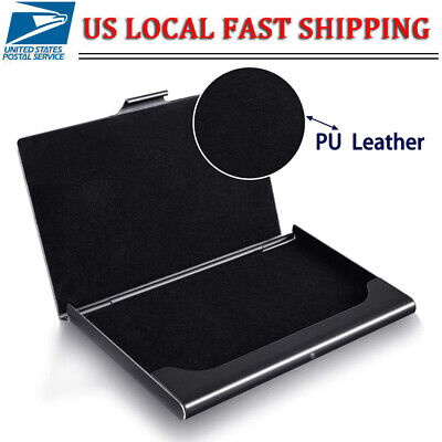 Pocket Stainless Steel Business Card Holder Case Id Credit Name Box Wallet Black