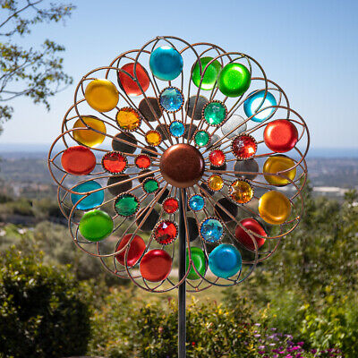 34cm Outdoor Garden Multicolour Sparkling Wind Spinner Ornament by Primrose