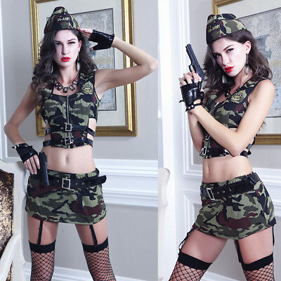 Female Holloween Costumes (Sexy Army Military  Uniform Lingerie Theme Party Costume  Cosplay)