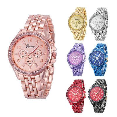 $7.04 - Geneva Luxury Men Women Watch Crystal Stainless Steel Quartz Analog WristWatches