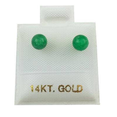 14K White Gold - 4mm Green Jade Ball Stud Earrings (GE339)