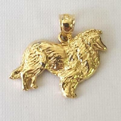 14k Yellow Gold COLLIE DOG Pendant / Charm, Made in -