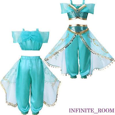 Kids Aladdin Costume Princess Jasmine Outfit Girls Sequin Party Fancy Dress Cosp