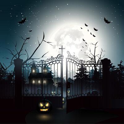 Scary Graveyard Scene Halloween Haunted 10X10FT Vinyl Studio Backdrop - Halloween Background Scary