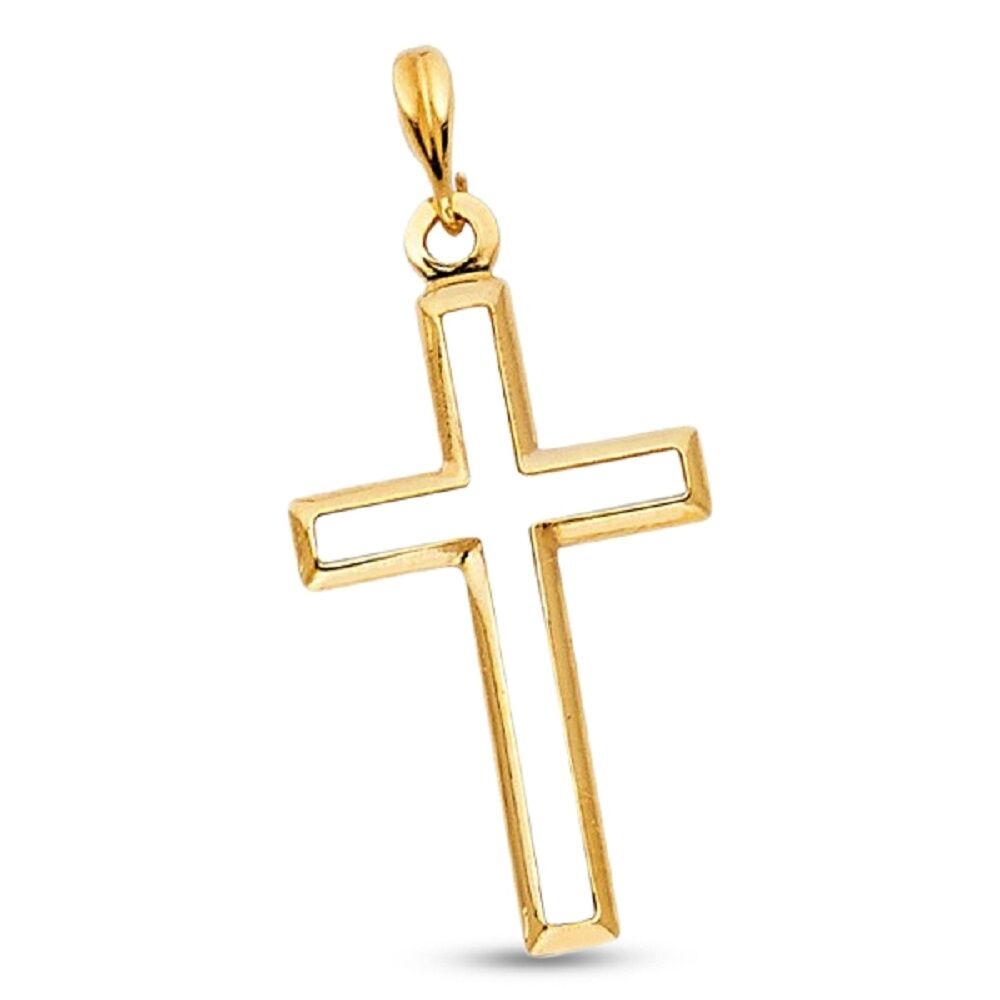 Solid 14k Yellow Gold Ankh Cross Pendant Religious Charm Classic Design Polished