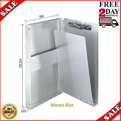 Small Aluminum Clipboard W Storage Form Holder Portfolio Metal Binder Heavyduty
