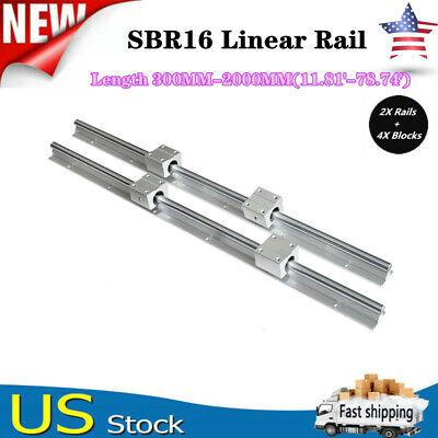 2x Sbr16 L3002000mm Linear Silde Rail Guide Shaft4x Sbr16uu Bearing Block Set