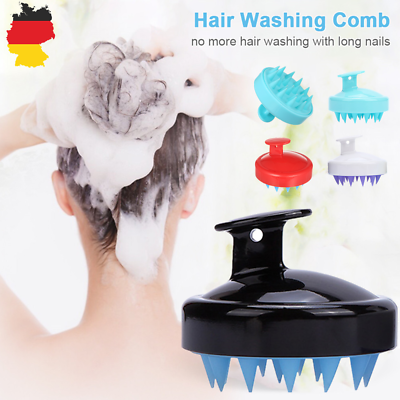 2x Silikon Bürste Kopf Dusche Massagebürste Shampoo Kamm Kopfhautbürste Reiniger