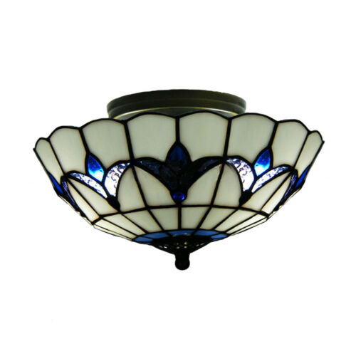 Tiffany Light Semi Flush Mount Ceiling Lamp Stained Glass Living Room Fixture - $83.59