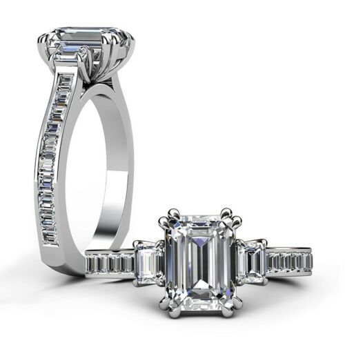 2.50 Carat Emerald & Baguette Cut Diamond Engagement Ring GIA Certified Platinum
