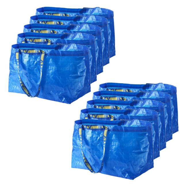 10 x IKEA FRAKTA Large Blue 72L Multi-Purpose Reusable Plastic Carrier Bags