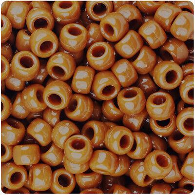 BeadTin Tiger Eye Brown Opaque 9mm Barrel Pony Beads -