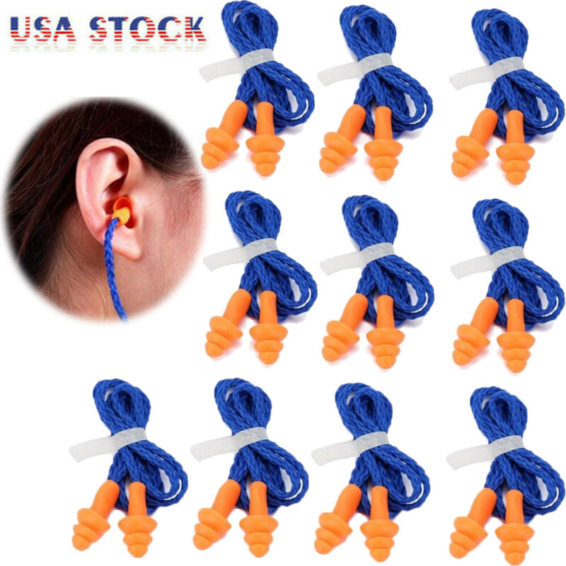 10Pcs Soft Silicone Corded Ear Plugs Reusable Hearing Protection Safety Earplugs