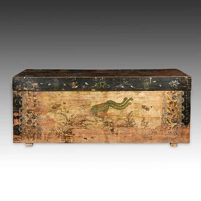 ANTIQUE COFFER LACQUERED PAINTED POPLAR WOOD MONGOLIA CHINESE FURNITURE 19TH C.