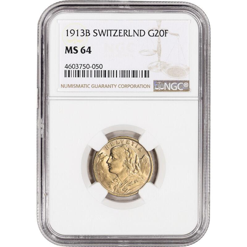 1913 B Switzerland Gold 20 Francs - NGC MS64